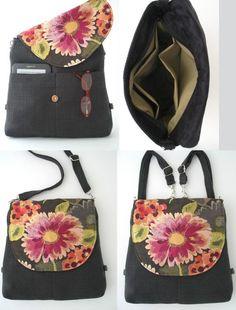 crossbody bag grey backpack messenger floral purse by daphnenen Backpack Purse, Crossbody Bag, Tote Bag, Ipad, Shoulder Handbags, Shoulder Bag, Grey Backpacks, Shopper, Zipper Bags