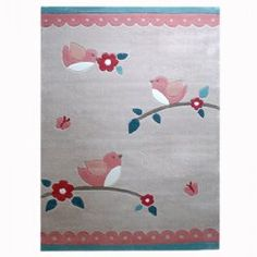 Little Birdies Kids Rug from BugRugs.  This children's rug is a piece of artwork!  The whimsical design is truly lovely in shades of coral and sage. Simple divine in nurseries, bedrooms and playrooms.  Available in 1.1m x 1.6m size.
