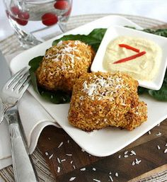 Inspired Edibles: Oven Baked Crispy Coconut-Masala Chicken Thighs with a Curried Yogurt Dipping Sauce