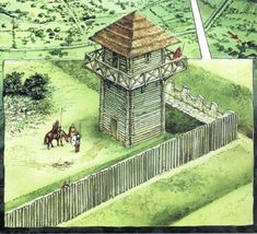 "Camelot? The Britons, who had been ruled by Romans, fought against the slowly encroaching Anglo-Saxons. This period of strife lasted for roughly two centuries after Rome left. In service to these martial needs, they rebuilt long-deserted Iron Age hill forts, occupied deserted Roman fortifications, and in some cases built new defenses. (Fortifications at Wroxeter, Shropshire circa 6th c - source: ""British Forts in the Age of Arthur"")"