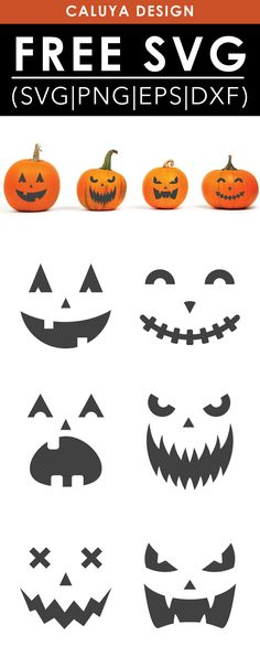 Free Pumpkin Faces SVG, PNG, EPS & DXF by Caluya Design. Compatible with Cameo Silhouette, Cricut and other major cutting machines!Perfect for your DIY projects, Giveaway and personalized gift. Perfect for Planner customization! Halloween Tags, Halloween Pumpkins, Halloween Design, Free Halloween Clip Art, Happy Halloween, Halloween Clipart Free, Halloween Quotes, Halloween Prop, Halloween Witches