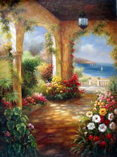 Garden Terrace by the Sea - Original Oil Painting Artist: Unknown  Size: 48 High x 36 Wide Canvas  Hand-painted, original oil painting on unstretched canvas.