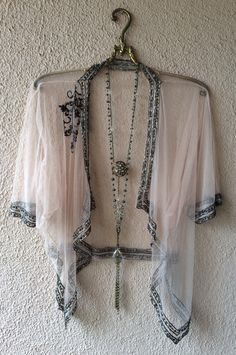Image of Anthropologie sheer mesh beaded gypsy violet kimono