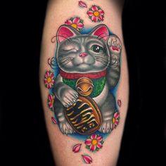 Lucky Cat/ Maneki Neko tattooed by Megan Massacre from Wooster Social Club / NY Ink.   Beautiful colors.