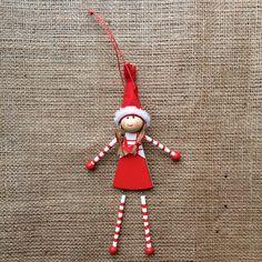Christmas Decoration - Wooden Lillie Toy Doll Doll Toys, Dolls, Christmas Decorations, Holiday Decor, Elf On The Shelf, Moonlight, Handmade, Design, Home Decor
