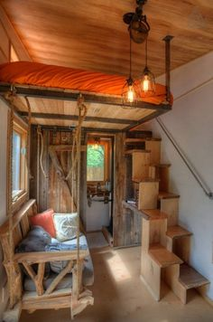 Hip Tiny House Vacation in Austin, Texas - built by Rocky Mountain Tiny Houses in Durango, Colorado. Neat features and more info at Tiny House Talk link.
