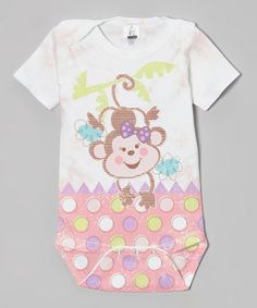 Another great find on #zulily! Pink Fun Time Monkey Girl Bodysuit - Infant by Clever Birds #zulilyfinds