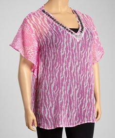 Love this Pink & White Animal Cape-Sleeve Tunic - Plus on #zulily! #zulilyfinds