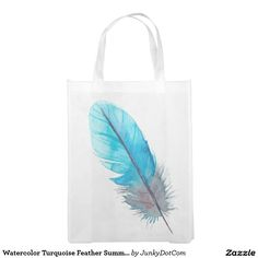 Watercolor Turquoise Feather Summer Boho Reusable Grocery Bag @zazzle #junkydotcom Aug 18 2016