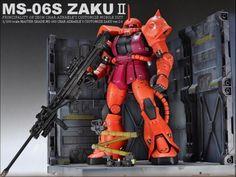 "MODELER: Kingyassu  MODEL TITLE: Char's Zaku II Ver. 2.0 ""Repair Hangar Rollout""  MODIFICATION TYPE: custom details, custom equipment, cust..."