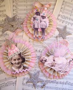 perfect for old photos of suzy and family 4 chirtmas.  Made cards for suzy, nancy, and tina with rosettes that had suzy's 3 year old picture, tina's gradeschool piture, and Nanas picture.  suzy and Nancy's were on a tin square.