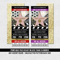 HOLLYWOOD TICKET INVITATIONS Red Carpet Party (printable files) Birthday, Graduation, etc. - by nowanorris on Etsy