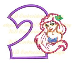 Mermaid  nd Birthday Embroidery Applique Design