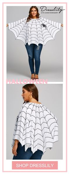 The plus size poncho blouse featuring spider web print, personalized and fashion look, no sleeve can limited your movement, its very cool. Cheap Halloween, Holidays Halloween, Baby Halloween, Halloween Costumes For Kids, Halloween Crafts, Haunted Halloween, Halloween Cupcakes, Halloween Dress, Halloween Halloween
