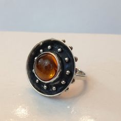 Vintage Jewelry Ring / Amber Ring / Silver by AntiqueJewelryForFun