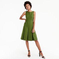 Pleated linen sheath dress