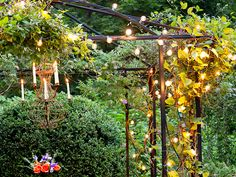 Strands of bulbs powered by the sun are an easy way to light up a far-flung garden room. A solar panel staked in the ground harvests enough energy for 6 to 8 hours of illumination. Add a candle chandelier to enhance the mood. Solar String Lights with 200 bulbs, about $40; Plow and Hearth. Wrought Iron 6 Arm Candle Chandelier with Bird Cage, about $40; Amazon.com