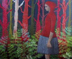 Lost | 2 --EXHIBITION--, Cécile Duchêne Malissin  Painting: Acrylic and oil pastel Size: 47.2 H x 39.4 W x 0.8 in a girl with a red Riding Hood in the forest
