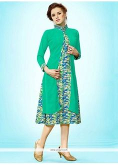 Immaculate Print Work Faux Georgette Party Wear Kurti
