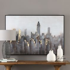 Skyline Hand Painted Modern Canvas - Skyline Modern Art The Effective Pictures We Offer You About minimalist girl A quality picture can - City Painting, Painting Prints, Canvas Prints, Skyline Painting, Turquoise Painting, Hand Painted Canvas, Gold Canvas, Canvas Canvas, Metal Wall Art