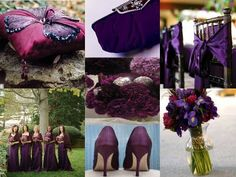 Big fan of the purple and deep magenta.  Would add some ivory undertones to the flowers and decor.