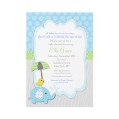 Elephant Baby Shower Invitations boy by LittleSeiraStudio
