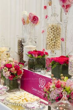 Pink Candy Buffet with light up risers    http://www.fortuneproducts.com/risers_rsr.html