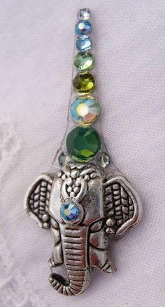 Opal Green Elephant Bindi made with Swarovski crystals
