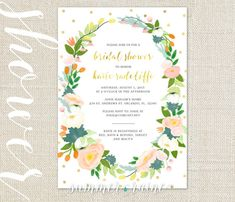 Citrus and Mint Flowers Bridal Shower Invite - Printable, digital, print-it-yourself - Polka dot, wreath, crown, watercolor