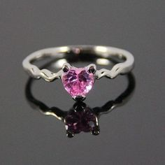 ~♥ LOOK ♥~ 6mm Pink Sapphire heart Gem Prong setting 18KT Plated ring Size 9