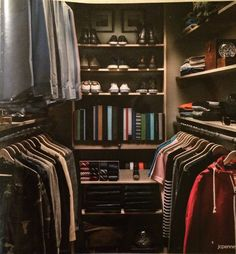 Well organized closet space.