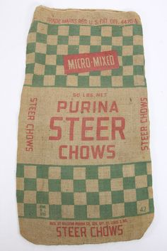 Purina Steer Chows Red Green Checkerboard Burlap Gunny Sack Double Sided