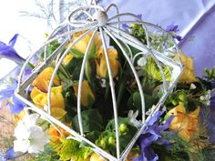 A birdcage filled with yellow and blue