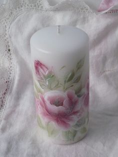"Shabby Chic White 6"" PILLAR Candle Handpainted Deep Red Burgandy Roses ECS"
