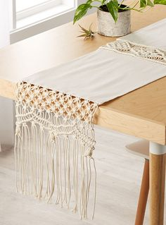 "Boho macramé table runner 14"" x 72"" 