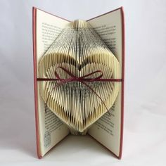 Folded Book Art Heart - center indented