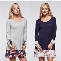 GIANNA floral long sleeve dress - NAVY/H. GREY Button details floral print paneled long sleeve dress. Available in navy (s & m) & H. grey (m). NO TRADE, PRICE FIRM Bellanblue Dresses Long Sleeve