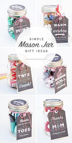 6 Simple Mason Jar gifts with Printable Tags to make gift giving easy and inexpensive for even the hardest to shop for on your Christmas list!: