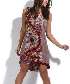 Look at this #zulilyfind! Red & White Crochet Trim Wool-Blend Scoop Neck Dress #zulilyfinds