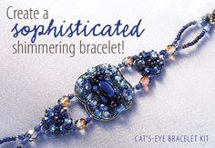 Cat's Eye Bracelet Kit from Anniescatalog.com -- This Cat's Eye Bracelet Kit allows you create a sophisticated shimmering bracelet!