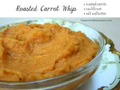 Roasted carrot whip is my new favorite side dish! It's made with sweet roasted carrots and cauliflower. Frugal and easy!