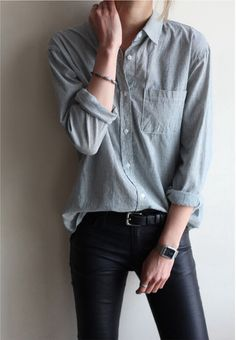 Pinstripe grey chambray, leather skinnies