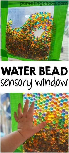 This water bead sensory window bag is one of our favorite ways to distract the kids with mess-free sensory play...the perfect solution when you need a moment to tackle the mess! #SCJMessyMoments #ad