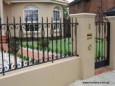 Fence Design Ideas - Photos of Fences. Browse Photos from Australian Designers & Trade Professionals, Create an Inspiration Board to save your favourite images. House Fence Design, Modern Fence Design, Door Gate Design, Front Gates, Entrance Gates, Fence Builders, Home Fencing, Front Courtyard, Wrought Iron Fences