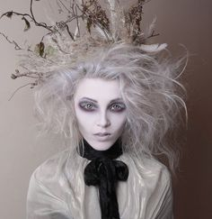 Tim Burton inspired makeup - hollow eyes and white eyelashes - by White Rabbit Make Up Artist by That Long Hair Girl