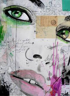"Saatchi Online Artist: Loui Jover; Paper, 2013, Mixed Media ""the rhythm of dreams"" Portrait ideas of girls"