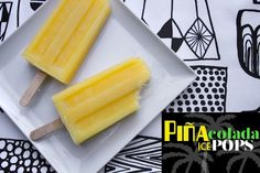 Piña Colada Ice Pops makes 7-8 pops recipe from Gourmet Magazine 3 cups chopped fresh pineapple (14 ounces) 1/3 cup well-stirred canned unsweetened coconut milk 1/2 cup water 3 tablespoons superfine granulated sugar 1/3 cup light rum   Purée all ingredients in a blender until smooth, then strain through a fine-mesh sieve into a …