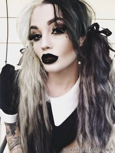 http://twitter.com/gothpleasures/status/1067508721830502402 Skin Care, Hair Styles, Polyvore, Outfits, Ideas, Metalhead, Clothes, Beauty, Dyi