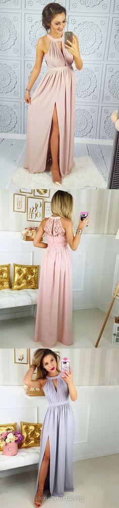 Pink Prom Dresses, Long Prom Dresses, Modest Prom Dresses 2018, A-line Prom Dresses Lace, Chiffon Prom Dresses Split Front #chiffon #sexy #prom2018