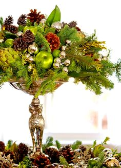 Lovely pine & silver table centerpiece ToniKami Ðℯck Ʈհe HÅĿĿs Christmas decor